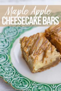 maple apple cheesecake bars on a plate