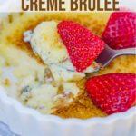 vanilla bean creme brulee in a white ramekin