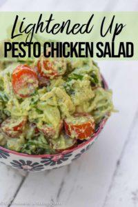 pesto chicken salad in a small bowl