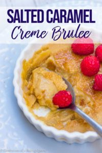 salted caramel creme brulee recipe on a purple plate