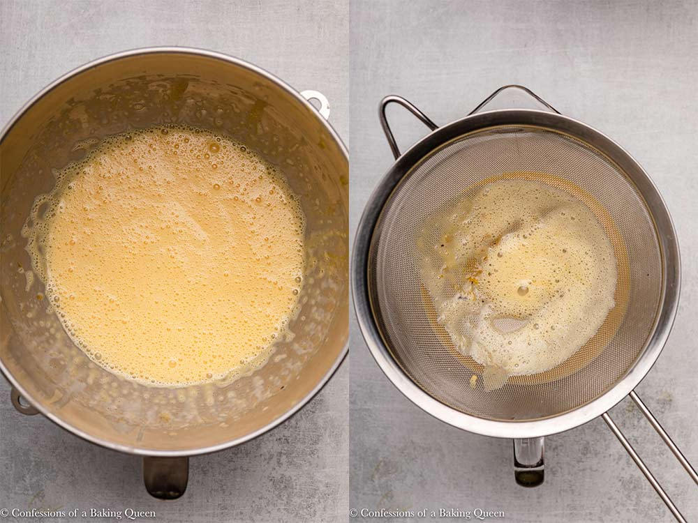 salted caramel creme brulee mixture in a metal sieve