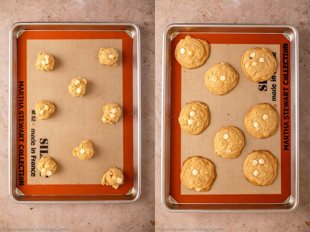 white chocolate chip cookies before and after baking on a silpat lined baking sheet on a light brown surface