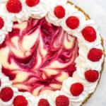overhead shot of a raspberry swirl lemon cheesecake