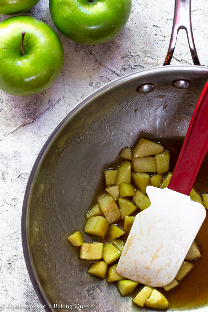 apples cooked in a brown sugar buttery sauce for a apple blondie recipe