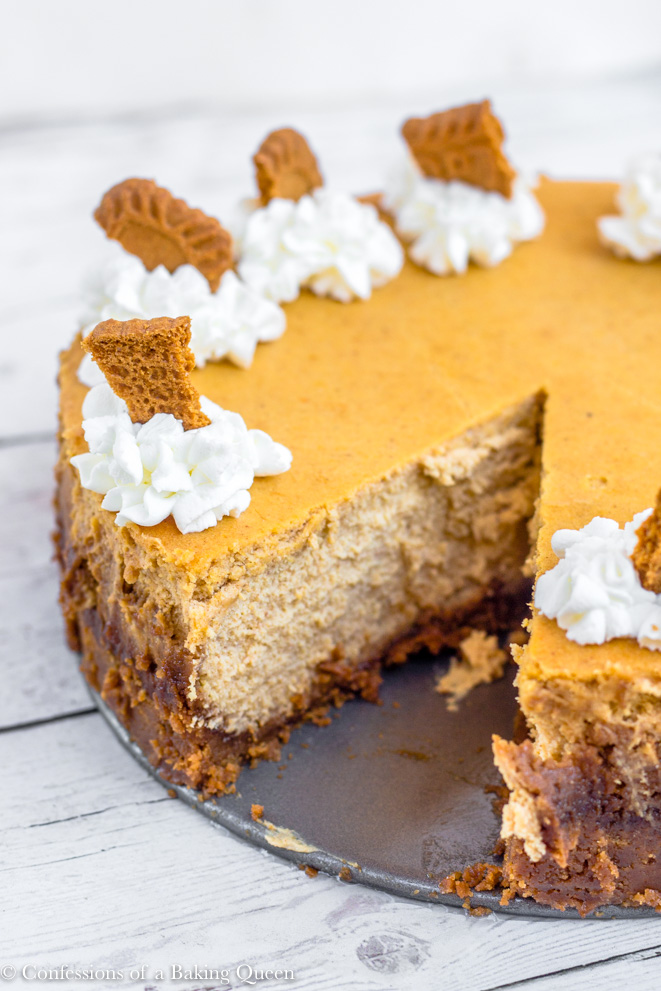 Pumpkin Cheesecake with biscoff crust on a metal round on a white wood background