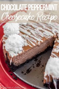 chocolate peppermint cheesecake recipe on a red cake plate