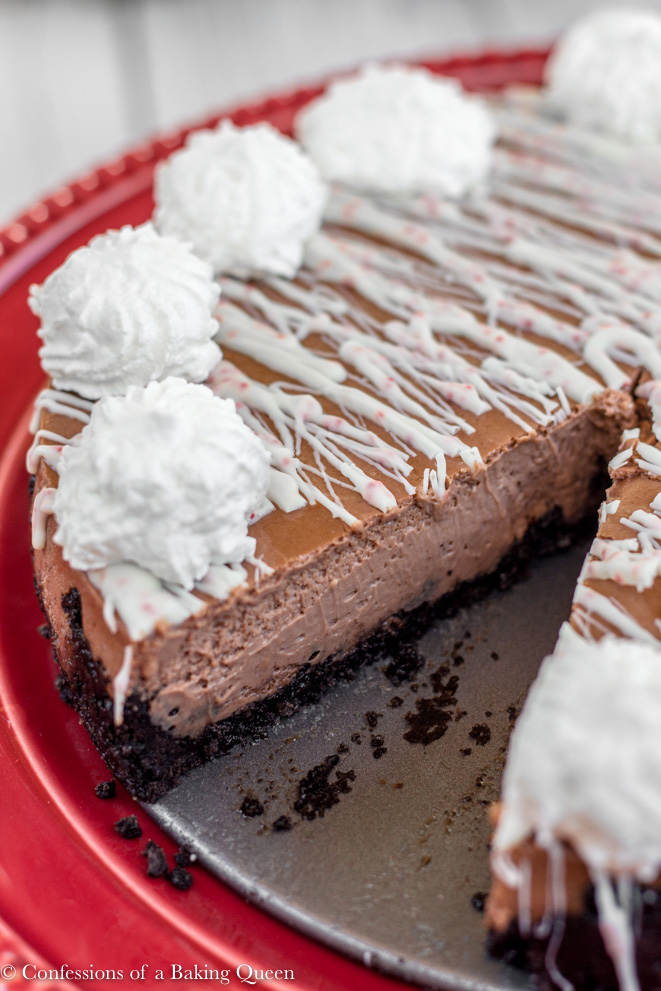 peppermint Chocolate Cheesecake baked and served on a red cake plate on a white background