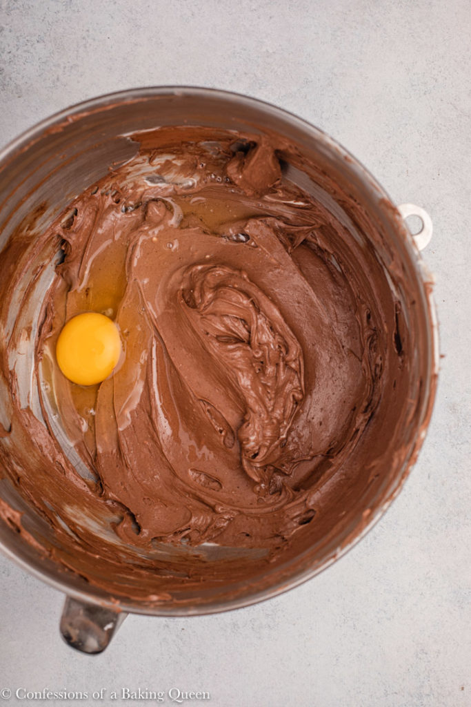 egg added to chocolate peppermint cheesecake batter