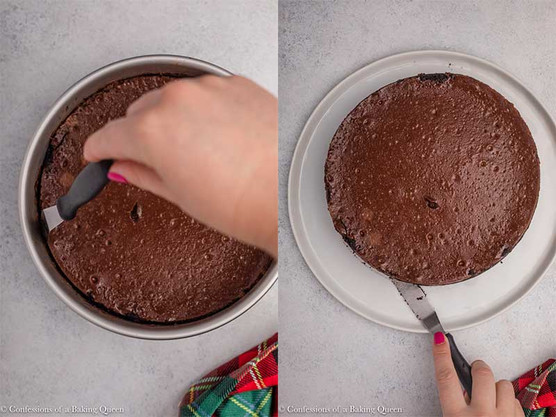 hand releasing peppermint chocolate cheesecake from pan on a light grey background