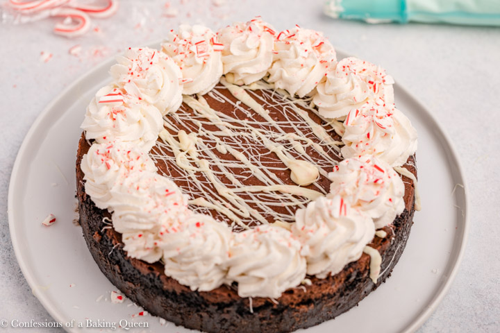 peppermint chocolate cheesecake on a white surface