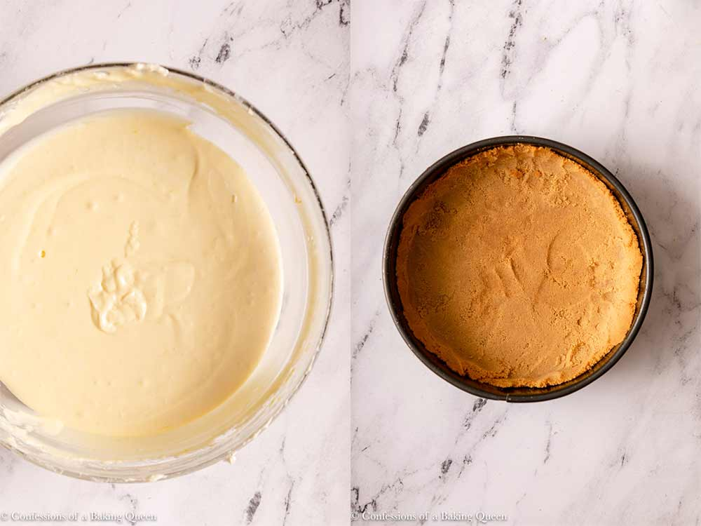 cheesecake batter and crust ready to be combined on a marble surface