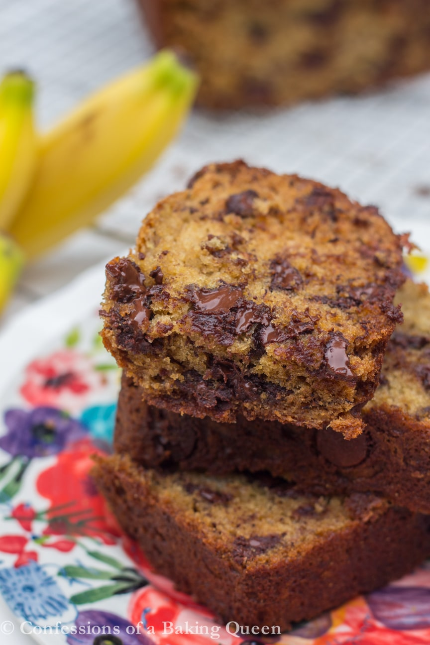 close up of baked slice of Chocolate Chip Banana Bread recipe