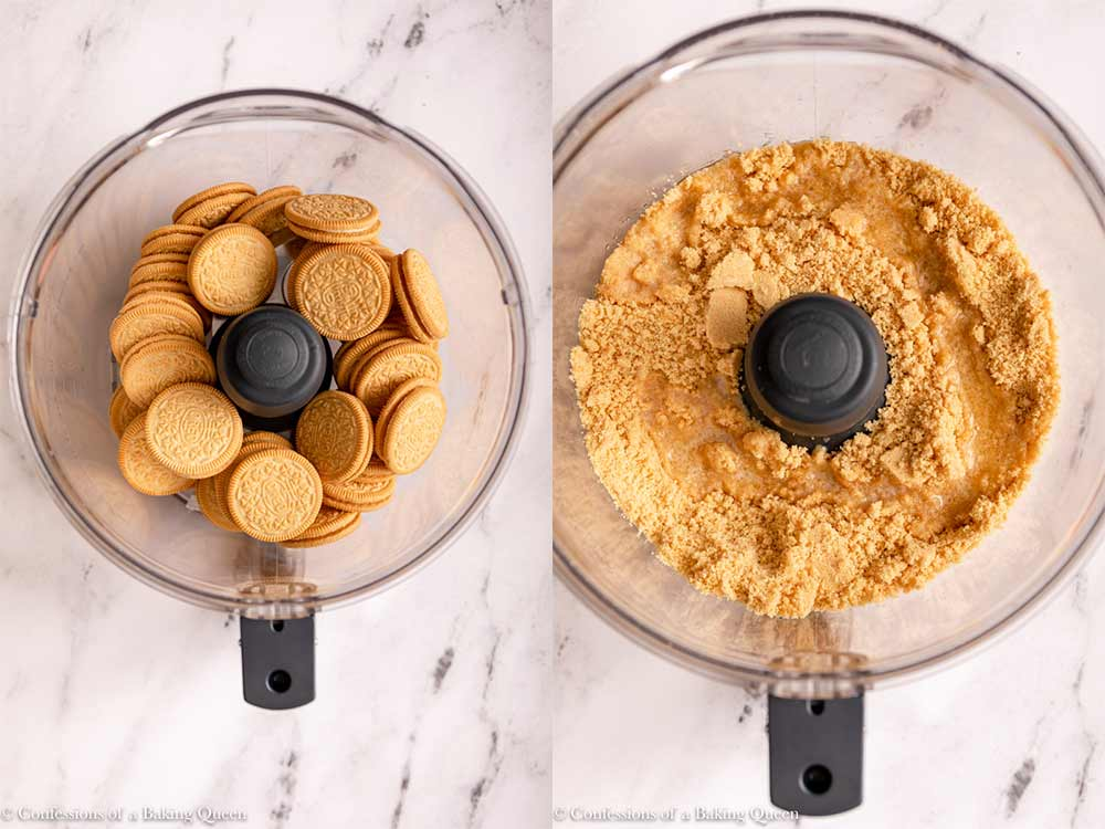 golden oreos in a food processor blended to a crumb and melted butter poured on top on a marble surface