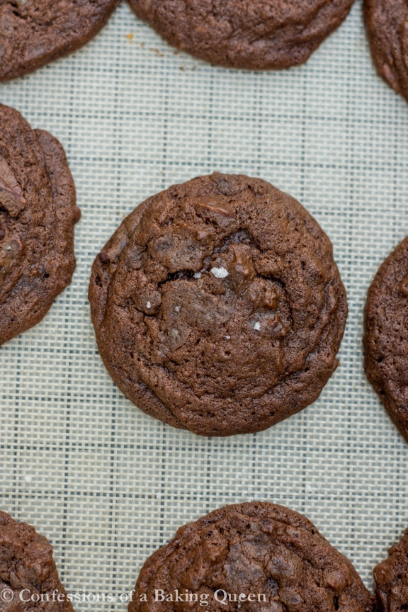 Sea Salt Double Chocolate Cookies on a baking sheet