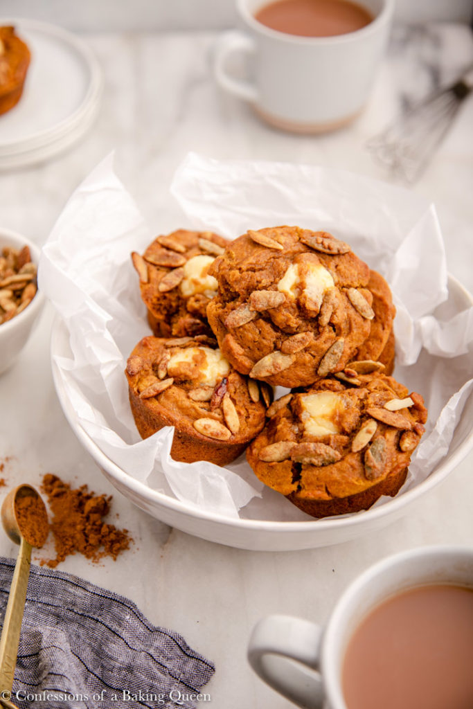 cream cheese pumpkin muffins in a bowl