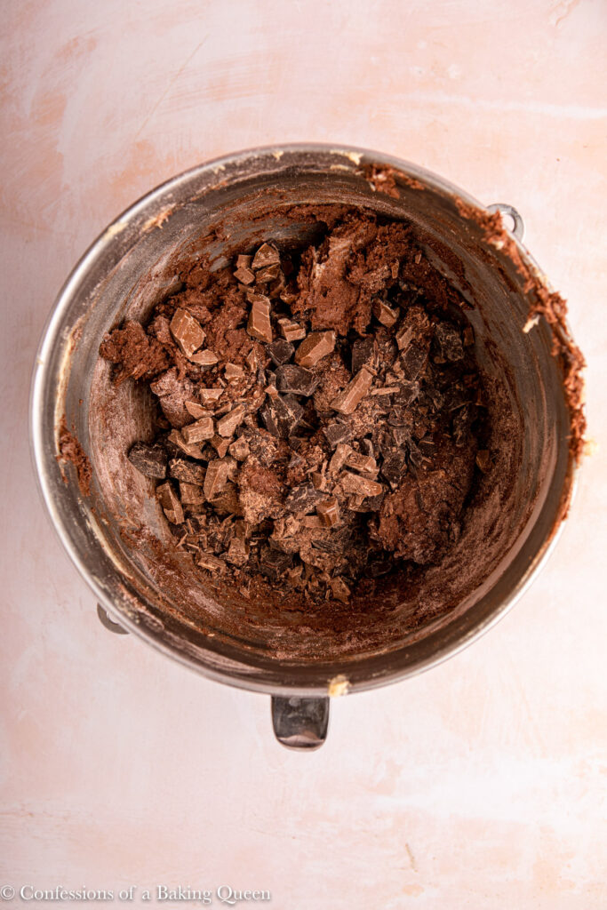 double chocolate cookie dough in a metal mixing bowl