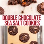 double chocolate sea salt cookies on a white marble surface