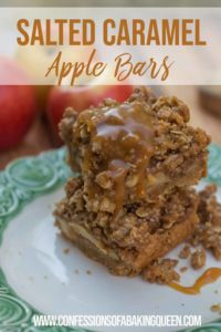 salted caramel apple bars stacked high on a green and white plate