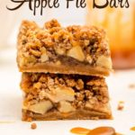 two salted caramel apple pie bars on top of each other