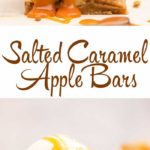 three salted caramel apple pie bars on top of each other with caramel dripping down on a white surface