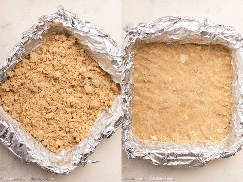 shortbread crust pressed into a foil lined pan