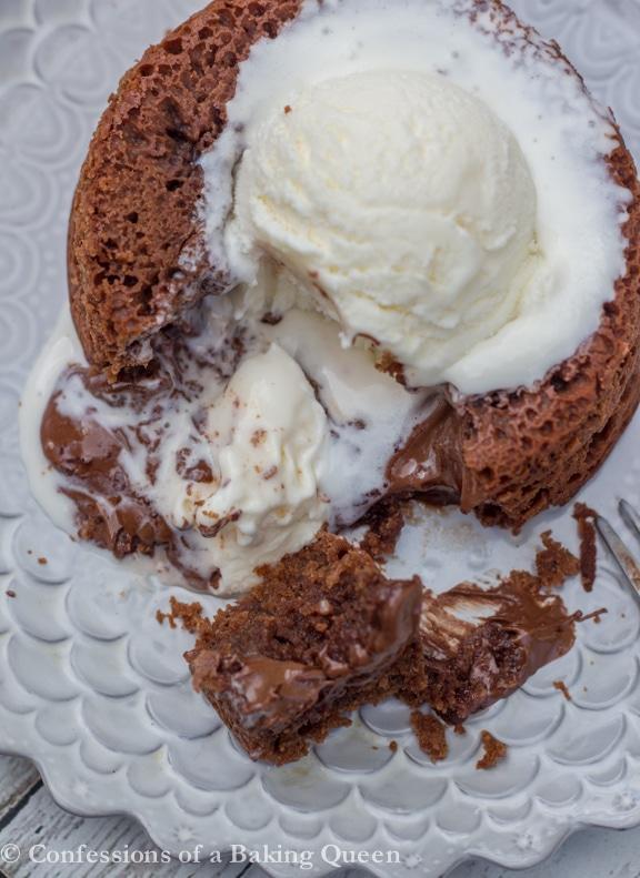 Nutella Lava Cake cut open on plate overhead