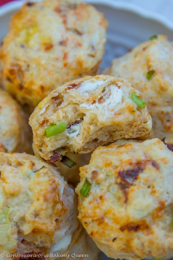 Goat Cheese Chive & Sun Dried Tomato Scones in a white bowl