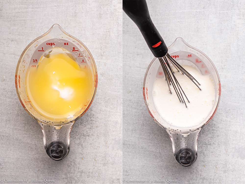 lemon juice and sour cream mixed together in a liquid measuring cup