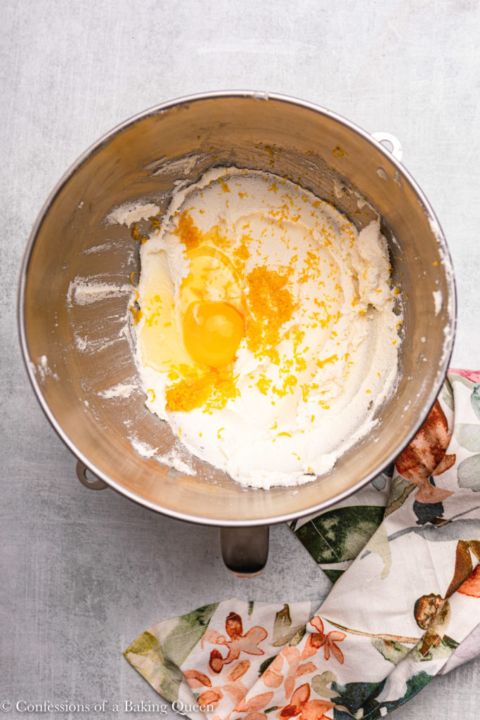lemon zest and eggs added to sugar butter mixture