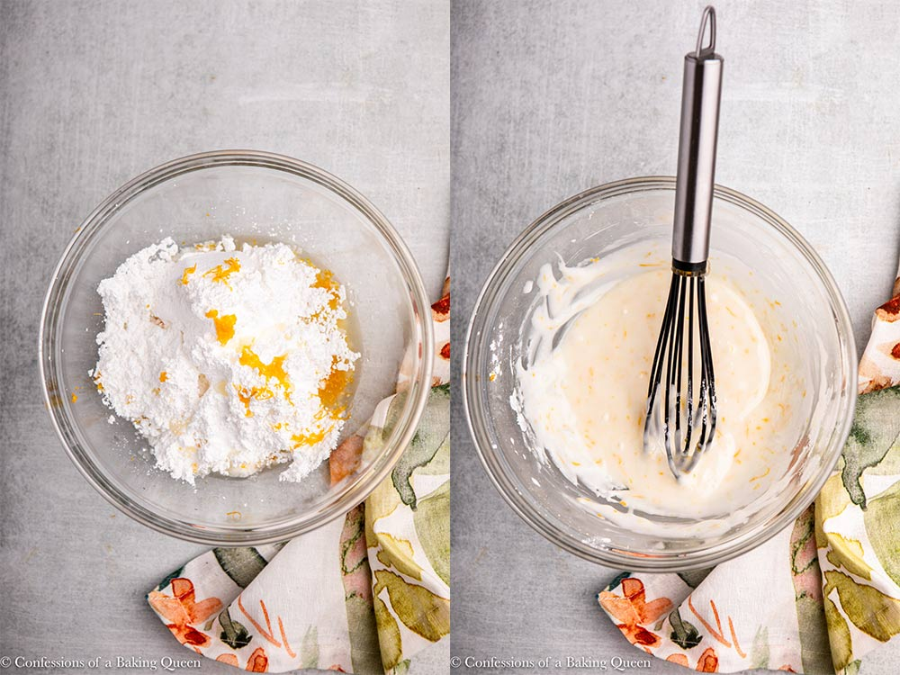 lemon zest and juice added to powdered sugar in a glass bowl