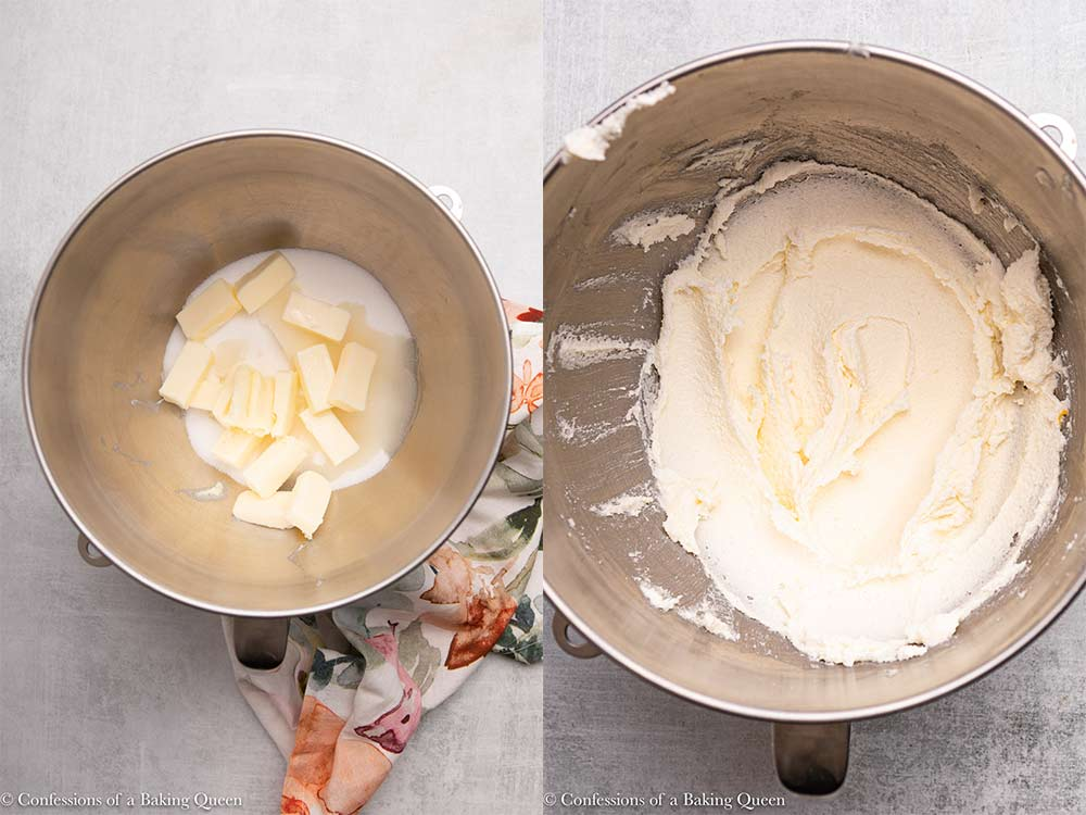 sugar, oil, and butter mixed together in a metal mixing bowl