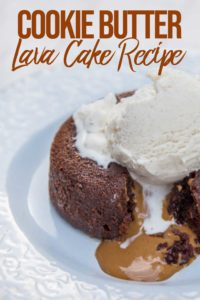 cookie butter lava cake cut into with ice cream on top on a light blue plate