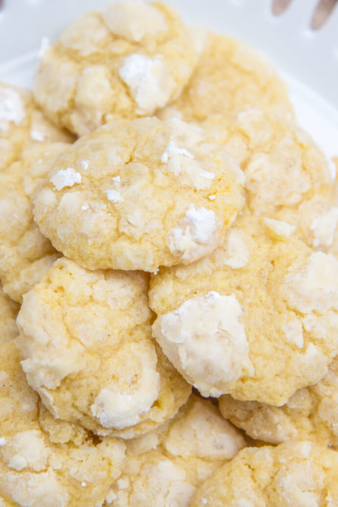 Chewy Lemon Cookie pile on a plate