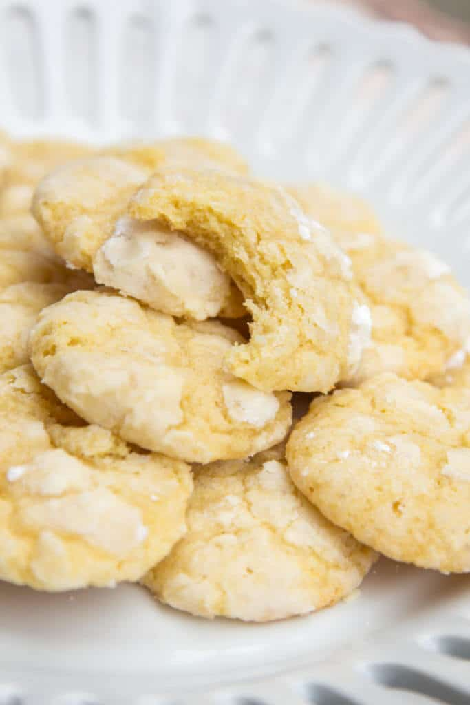 Chewy Lemon Cookies pile on a plate