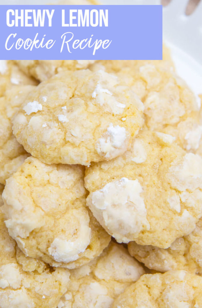 Chewy Lemon Cookie Recipe piled high on a white cake stand