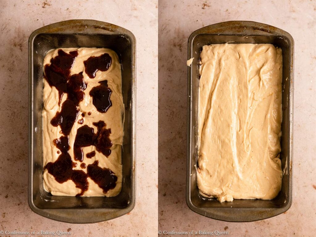 cinnamon mixture spooned onto cream cheese pound cake batter then more cake batter added on top in a metal loaf pan on a light brown surface