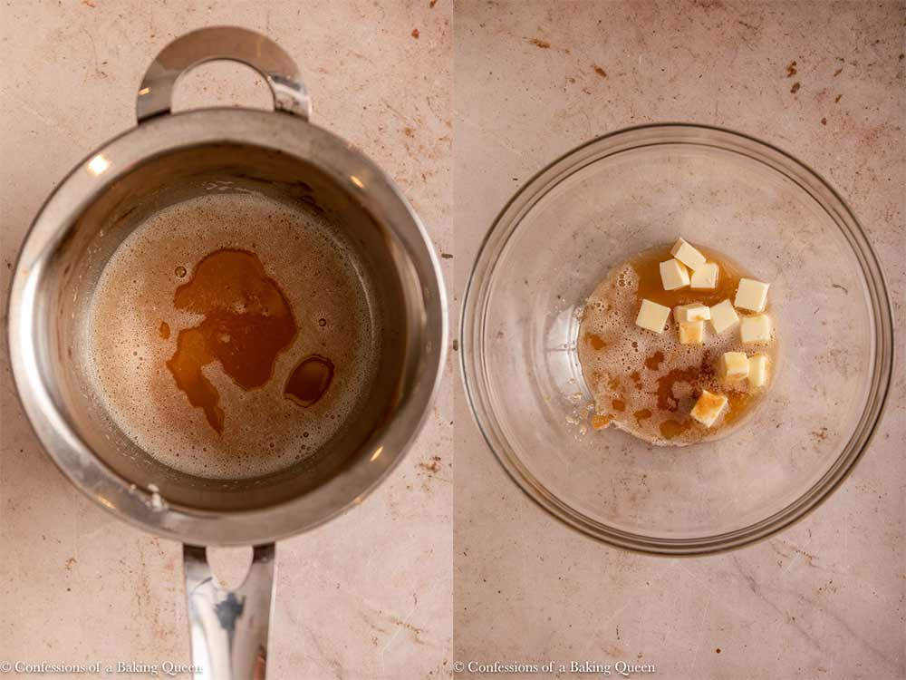 butter browned in a pot and added to chunks of room temperature butter in a glass bowl on a light brown surface