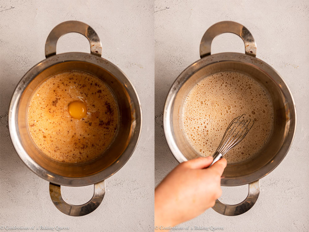 egg and spices added to liquid ingredients for french toast on a light grey surface