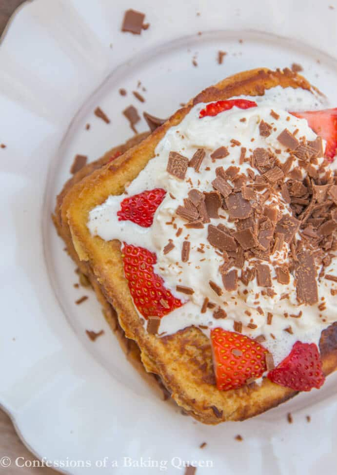 Nutella Strawberry French Toast Recipe overhead on a white plate