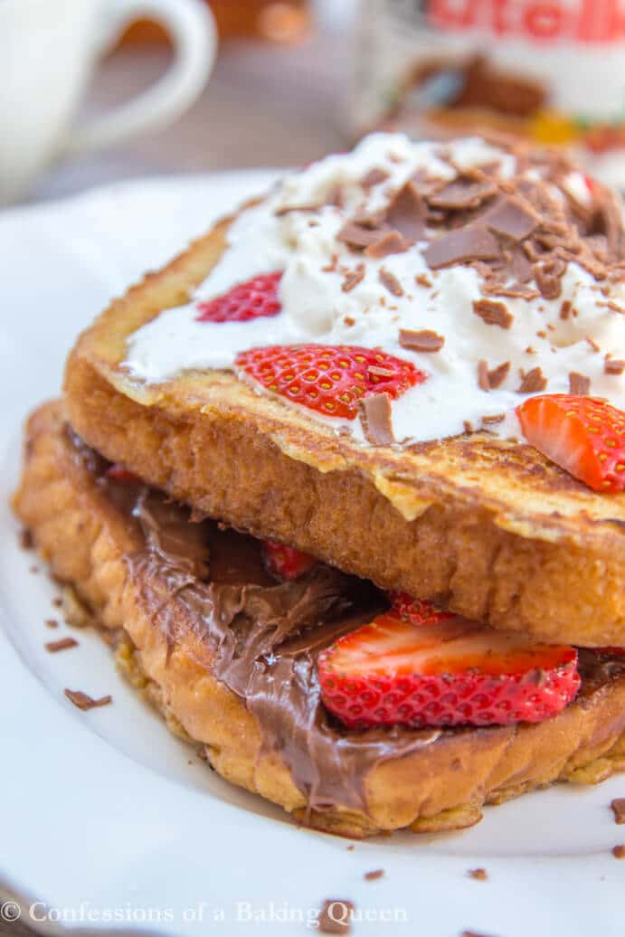 Nutella Strawberry French Toast up close on a white plate