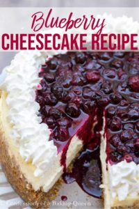 cut open blueberry cheesecake