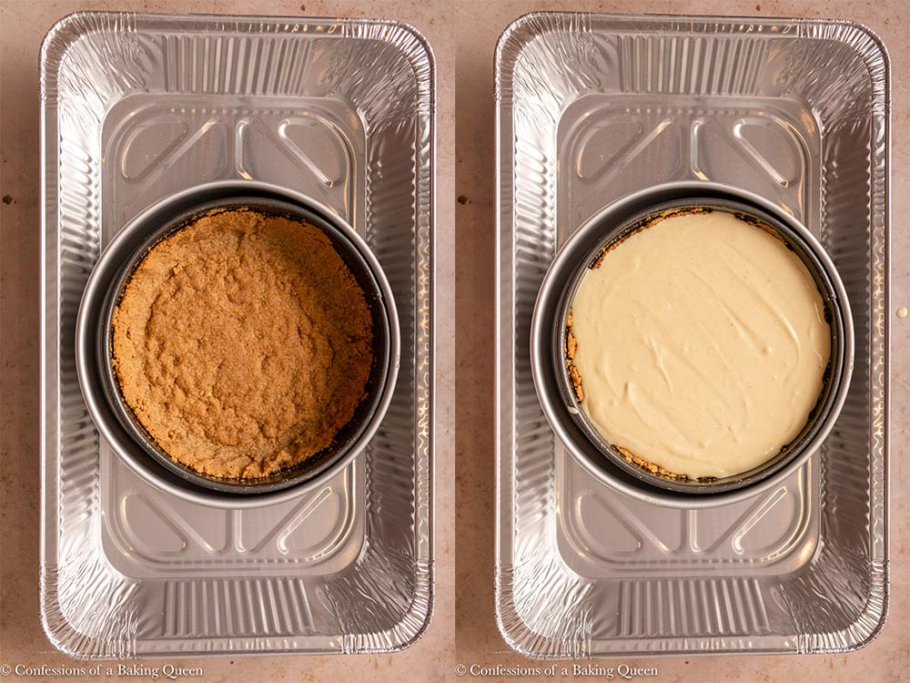 cheesecake batter added to crust in a springform pan inside a roasting pan on a light brown surface