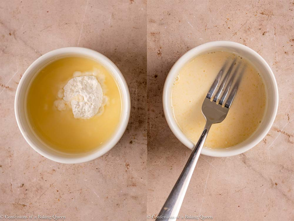 cornstarch and lemon juice mixed together in a white bowl on a light brown surface