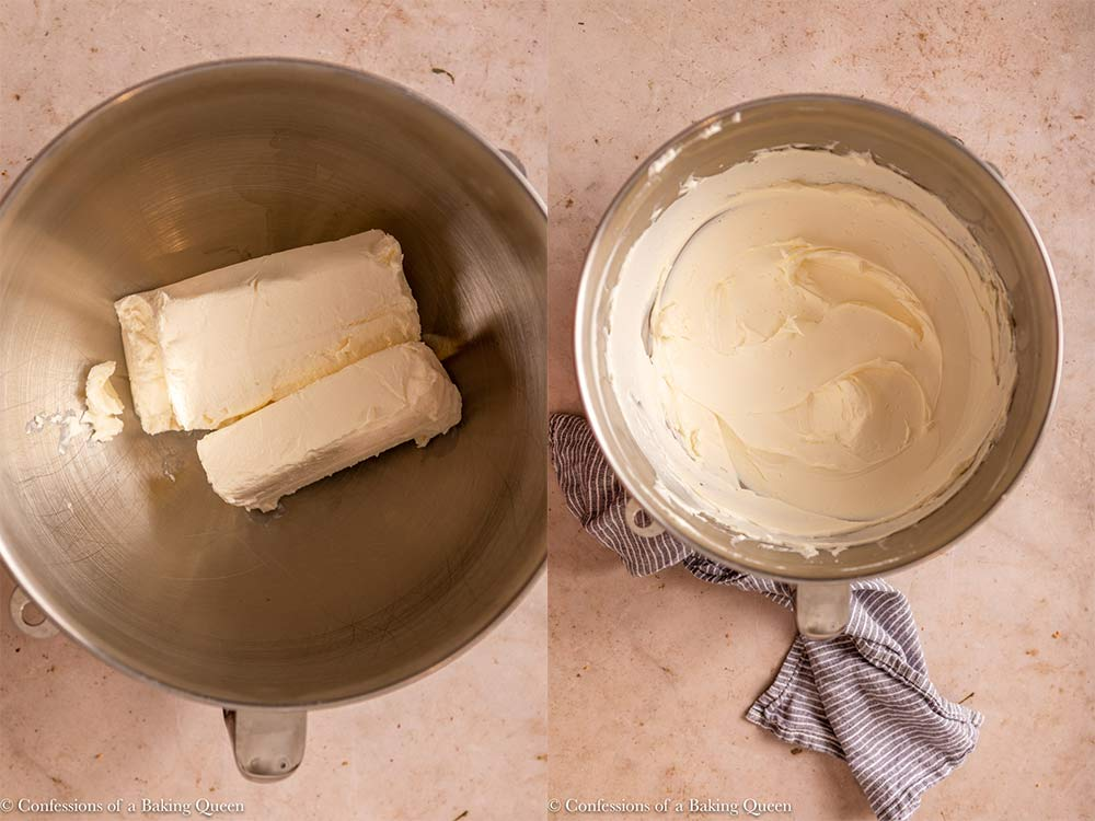 cream cheese blocks mixed until smooth in a metal mixing bowl on a light brown surface with a blue linen