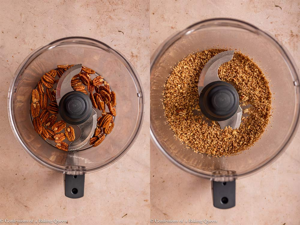 pecans crushed in a food processor on a light brown surface