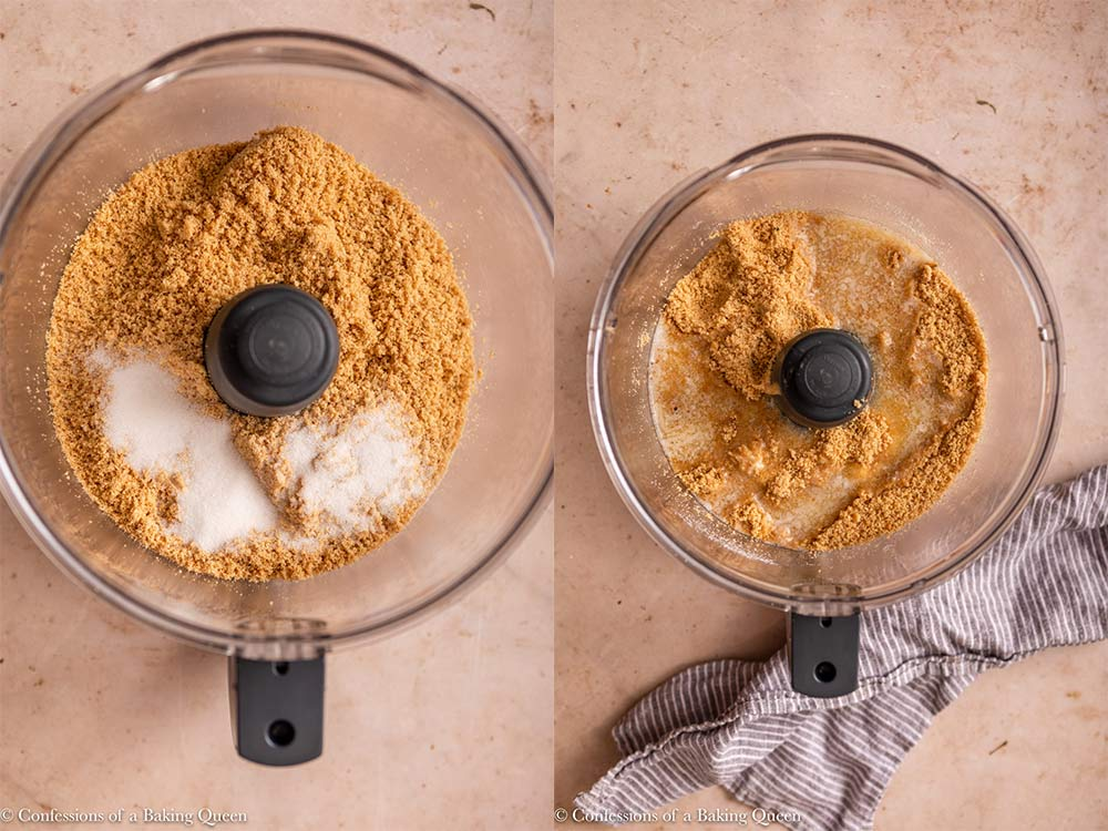 sugar added to graham cracker crumbs then melted butter added inside a food processor on a light brown surface with a blue linen