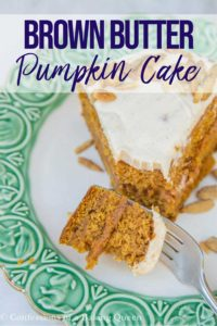 slice of brown butter pumpkin cake on a white and green plate