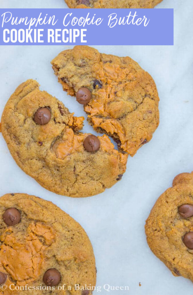 Pumpkin cookie butter cookies on a white marble surface