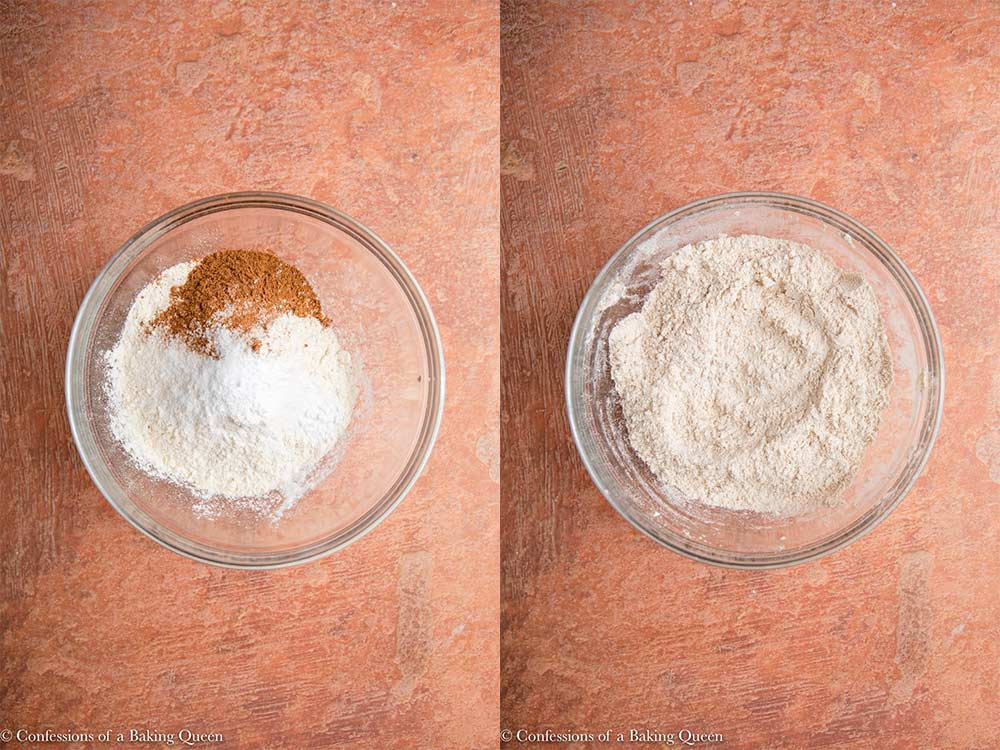 dry ingredients mixed into wet ingredients in a metal bowl on a reddish brown surface