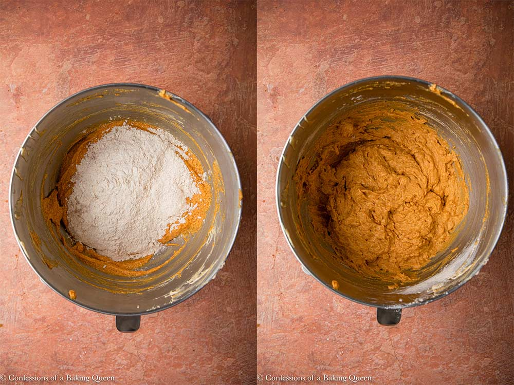 dry ingredients mixed into wet ingredients in a metal bowl on a reddish brown surface_